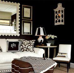 Family Room love the black walls! Black White Rooms, Black And White Interior, Black Walls, Mellow Yellow, White Decor, Living Room Inspiration, Color Inspiration, Home Interior, Interior Decorating