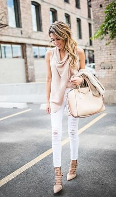 DETAILS: BLUSH KNIT SWEATER || WHITE DISTRESSED DENIM || LACE UP HEELS || BLUSH TOTE (LOVE THIS ONE)|| BEIGE CARDIGAN || SILVER WATCH If there is any color shoe every girl should own it's nude. I woul