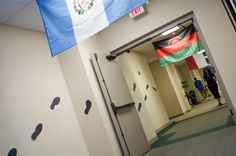Hallways at International Spy Academy -- lots of flags from all different countries
