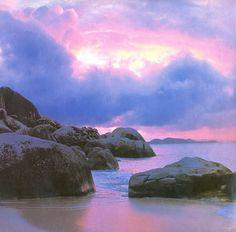 British Virgin Islands, Virgin Gorda | Purple + pinks + pale gold + dark grey