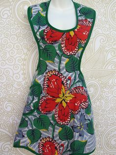 Retro Red and Green Butterfly Fabric Apron