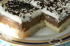 Ekmek Kadaifi with Chocolate Custard - but would like it better if the kadaifi on bottom base is not so packed together and have it more like a traditional kadaifi dessert - Where Home Starts Greek Sweets, Greek Desserts, Summer Desserts, Greek Recipes, Healthy Desserts, Meals Without Meat, Chocolate Custard, Fast Food, Think Food