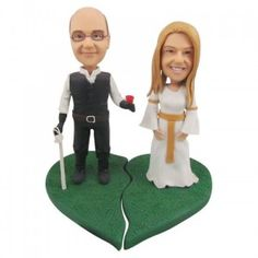 fimo topper, clay figurine, wedding