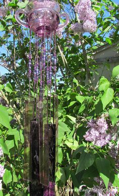 Vintage Purple Stained Glass Wind Chime