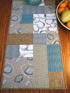 Modern Wonky Ribbon Taupe Mint Table Runner by derstinedesigns