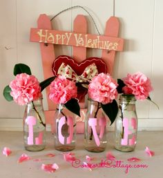 pink love vases, crafts, how to, repurposing upcycling, seasonal holiday decor, valentines day ideas