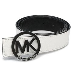 Michael Kors Logo-Medallion Leather Large White Belts.More than 60% Off, I enjoy these bags.It's pretty cool (: JUST CLICK IMAGE~ | See more about white belt, michael kors and belts.