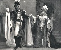 """Rosina Brandram as the Countess of Newtown in the original production of """"The Emerald Isle"""" with Jones Hewson (1901) (c/o Simon Moss; from the May 29, 1901, issue of The Sketch)"""
