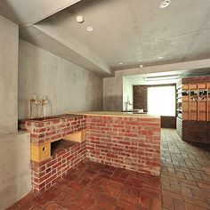 love the modern rustic look faux brick give. pair with minimal modern furniture for a clean DIY design