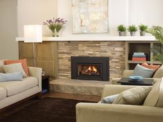 Gas Insert - Gas Fireplace Inserts - Regency Fireplace Products (stone with an ending point.then shelf mantle Fireplace Bookcase, Home Fireplace, Living Room With Fireplace, Fireplace Design, Gas Fireplaces, Fireplace Ideas, Fireplace Refacing, Mantel Ideas, Modern Gas Fireplace Inserts