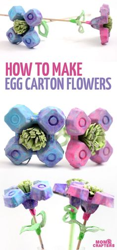 Beautiful egg carton flowers for kids or adults - this recycled flower craft is such a fun spring craft or summer craft for you to try! A fun take on paper flowers #kidscrafts #paperflowers #eggcarton #recycled