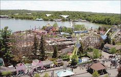 Geauga Lake foreground, Sea World across the lake