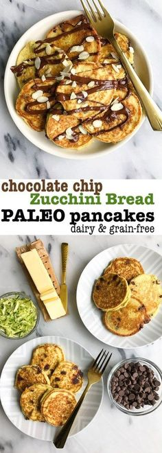 Paleo-ish Chocolate Chip Zucchini Bread Pancakes! Made with simple and delicious ingredients for a healthy pancake recipe. Uses a mix of almond, arrowroot, tapioca and coconut flour! Grain, gluten and dairy-free!