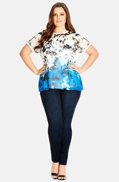 City Chic 'Daisy Blues' Zip Back Top (Plus Size) available at #Nordstrom
