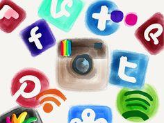 Redes sociales, iconos redes sociales, plantatercera