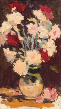 Vase with Carnations : Stefan Luchian : Impressionism : still life - Oil Painting Reproductions Art Deco Dress, Art Addiction, Still Life Oil Painting, Post Impressionism, Art Database, Oil Painting Reproductions, Carnations, Art Deco Fashion, Flower Art