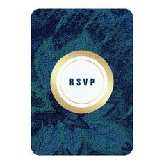 Blue | Faux Gold Foil Floral pattern background personalized Wedding | Wedding Anniversary Party | Birthday Party | Dinner Party | Any Occasion RSVP | Response Flat Cards. Matching Save the Date Wedding Announcements, Bridal Shower Invitations, Wedding Invitation Cards, Wedding Postage Stamps, Bridesmaid to be Request Cards, Thank You Cards and other Wedding Stationery and Wedding Gifts available in the Exotic Design Category of the Best Day Ever store at zazzle.com Whimsical Wedding Invitations, Wedding Invitation Cards, Bridal Shower Invitations, Wedding Stationery, Wedding Rsvp, Wedding Anniversary, Wedding Gifts, Wedding Postage Stamps, Exotic Wedding