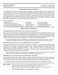 Marvelous Cv Examples | Our #1 Top Pick For Orthopedic Physician Assistant Resume  Development: