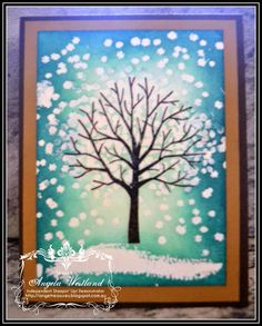 Stampin' Up! Ange's Treasures: Sheltering Trees - Resist Method using Embossing Powder and Ink Pads.