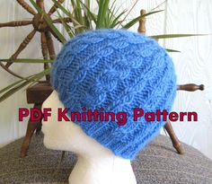 972159e4c77 Knitted Hat Pattern. Cable Beanie Pattern - Downloadable Pattern. Tutorial.  PDF. Knit Hat Pattern. Beanies for Men Women