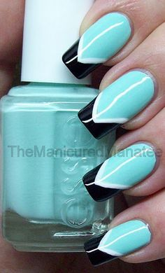 Turquoise Tesl Black white Chevron Simple free hand nail art
