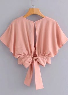 To find out about the Tie Back Butterfly Sleeve Blouse at SHEIN, part of our latest Blouses ready to shop online today! Girls Fashion Clothes, Teen Fashion Outfits, Look Fashion, Trendy Outfits, Girl Fashion, Emo Outfits, Lolita Fashion, 80s Fashion, Korean Fashion