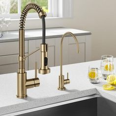 Gold Kitchen Faucet, Gold Faucet, Kitchen Handles, Kitchen Sink, Touchless Kitchen Faucet, Kitchen Cabinets, Sink Water Filter, Water Faucet, Commercial Faucets