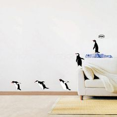 Penguin Family Wall Stickers Decal Home DIY Mural Paper Decor Kids Bedroom Bird Wall Decals, Animal Wall Decals, Wall Stickers Murals, Wall Stickers Home, Wall Murals, Wall Art, Nursery Murals, Nursery Boy, Wallpaper Stickers