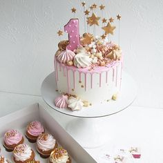 Toppings and vanilla cupcakes extra. Sweetie Birthday Cake, 1st Birthday Cake For Girls, Beautiful Birthday Cakes, Baby Birthday Cakes, Baby Cakes, Bolo Rapunzel, Sweet 16 Cakes, Drip Cakes, Pretty Cakes