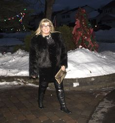 H&M Glittery Dress, leather leggings, OTK tie up boots and a faux fur jacket