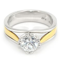 Two Tone Diamond Ring Settings | Two-Tone Solitaire Engagement Ring