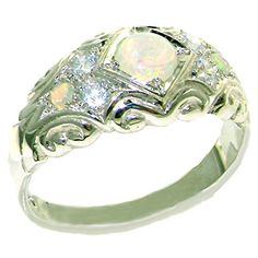 Solid 925 Sterling Silver Womens Opal & Diamond Vintage Wedding Band Ring - Size 6 - Finger Sizes 4 To 12 Available Wedding Rings For Women, Wedding Ring Bands, Wedding Ring Pictures, Promise Rings For Her, Diamond Bands, Diamond Jewelry, Gold Jewelry, Diamond Earrings, Jewellery