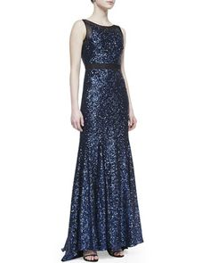 Sleeveless Sequin V-Neck Gown, Sapphire by Badgley Mischka Collection at Neiman Marcus.  orig=795;now=357.75 (size 10 only)