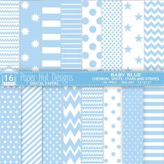 Baby Blue Digital Papers Chevron Spots Stars by PaperHutDesigns