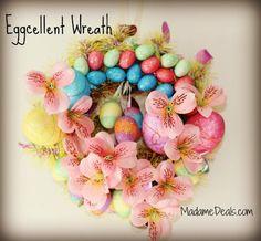 "Easter Egg Crafts - Pretty ""Eggcellent"" Wreath http://madamedeals.com/easter-egg-crafts/  #inspireothers #easter"