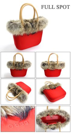 Fullspot O bag in red with fur trim #handbags