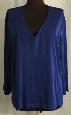 CHICO'S TRAVELERS 2 M Top Shirt Blue slinky knit v-neck 3/4 sleeve stretchy #Chicos #KnitTop #Casual
