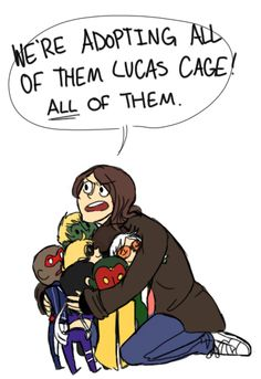 Jessica Jones + baby young avengers ^_^ (Which is kind how that went down. Anime Comics, Marvel Dc Comics, Marvel Art, Jones Baby, Marvel Tumblr, Power Man, Young Avengers, Luke Cage, Jessica Jones