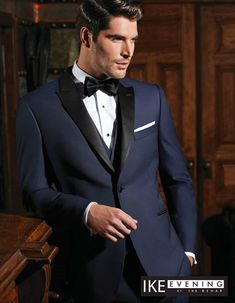In recent years, one of the most emergent trends in men's formal wear has been the popularity of dark blue tuxedos and suits. To answer that growing need, Ike Behar Evening has developed some beautifu Modern Tuxedo, Classic Tuxedo, Men's Tuxedo Wedding, Wedding Suits, Wedding Attire For Men, Navy Tux Wedding, Trendy Wedding, Wedding Dresses, Wedding Band