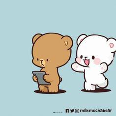 Cute Couple Cartoon, Cute Cartoon Pictures, Cute Love Pictures, Hug Love Gif, Hug Gif, Cute Bear Drawings, Cute Cartoon Drawings, Calin Gif, Gif Lindos