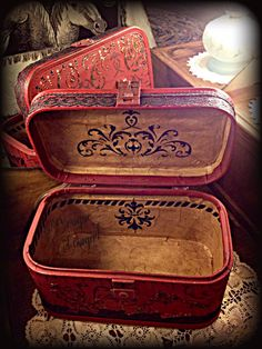 Vintage painted train case red interior