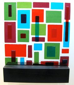 Fused glass, clear base, trans vibrant colors. Mid Century Modern Art Glass Sculpture.