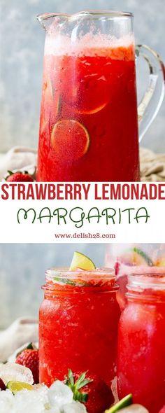 Strawberry Drink Recipes, Easy Strawberry Lemonade Recipe, Homemade Lemonade Recipes, Raspberry Lemonade, Strawberry Margarita Punch Bowl Recipe, Raspberry Cheesecake, Pumpkin Cheesecake, Fruit Recipes, Delicious Recipes