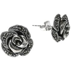 Goldmajor Marcasite Rose Stud Earrings, Silver ($58) ❤ liked on Polyvore featuring jewelry, earrings, accessories, brincos, ear rings, floral earrings, floral stud earrings, vintage style earrings, post back earring and marcasite jewelry