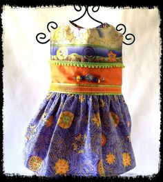 Soft Cotton Dress With Artistic Prints and Exclusive Lampwork Beads, All Handmade by NakedDogStudio On Etsy