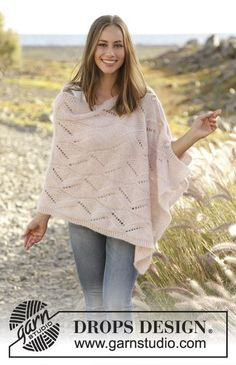 Knitted poncho with lace pattern in 2 strands DROPS Brushed Alpaca Silk, worked sideways. Size: S - XXXL.