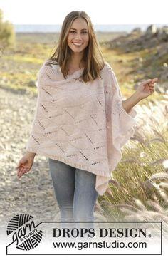 Strikket poncho med hullmønster i 2 tråder DROPS Brushed Alpaca Silk, strikket sidelengs. Str S - XXXL Gratis oppskrifter fra DROPS Design.