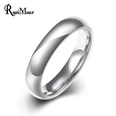 RAVIMOUR Unisex Rings Stainless Steel Rings for Women & Men Jewelry 4mm Simple Wedding Bauge Bijoux Femme Party Gifts Brand New #Affiliate