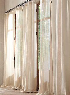 effortless sheer linen drapes from Restoration Hardwre at $100/panel