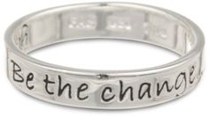 """Amazon.com: Sterling Silver """"Be The Change You Wish To See in the World"""" Ring: Jewelry  """"If you want to make the world a better place - take a look at yourself and make that change"""""""